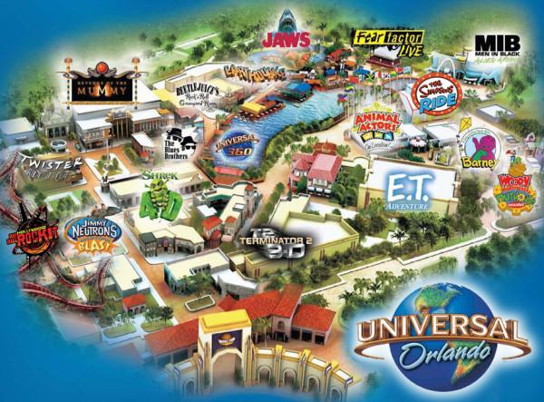 Mapa Parque Universal Studios - Orlando para adultos