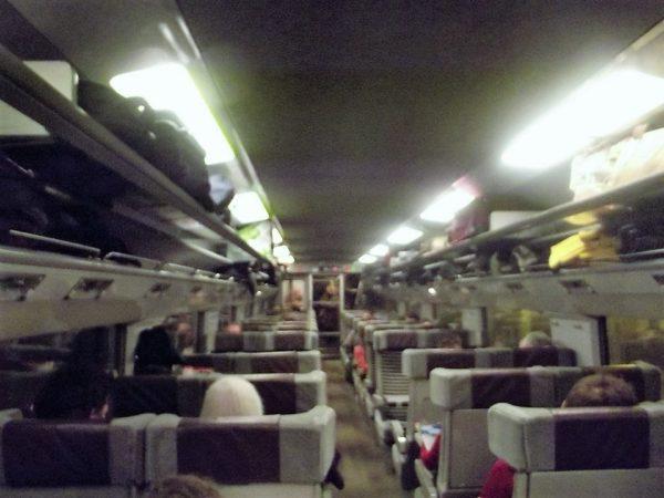 Vagão da Eurostar por dentro