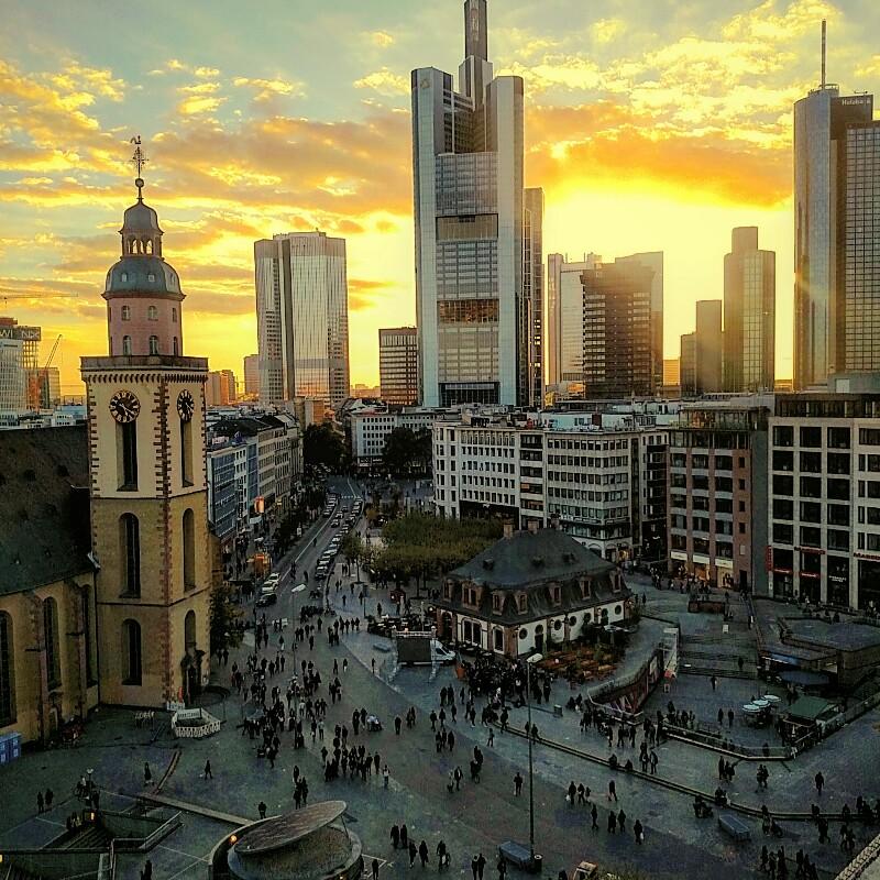 entardecer em Frankfurt