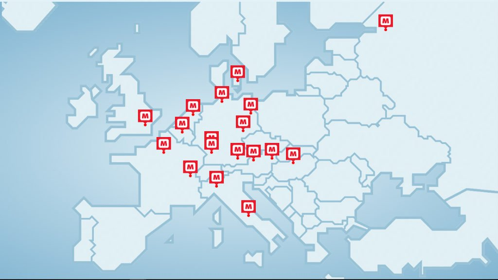 Mapa de unidades da rede MEININGER HOTELS