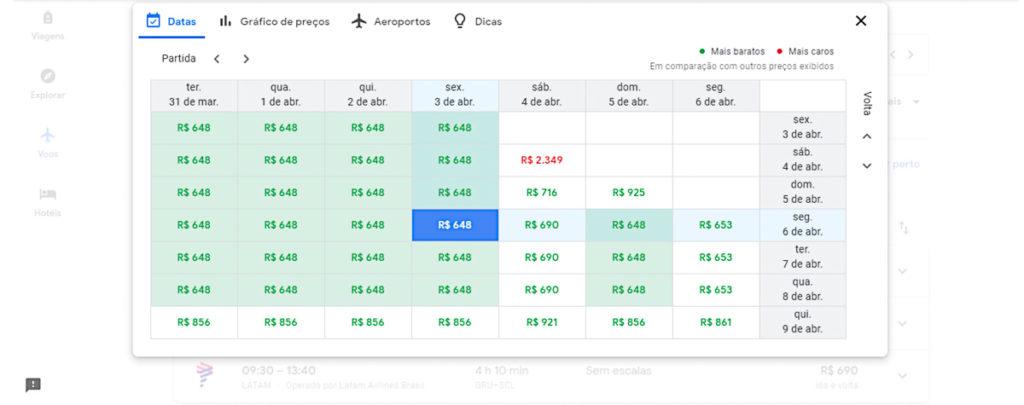 calendário com preços de passagens no google flights