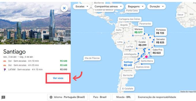 preços mais baratos no mapa do google flights