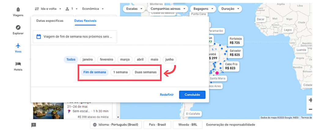 tempo de viagem mais barato no google flights