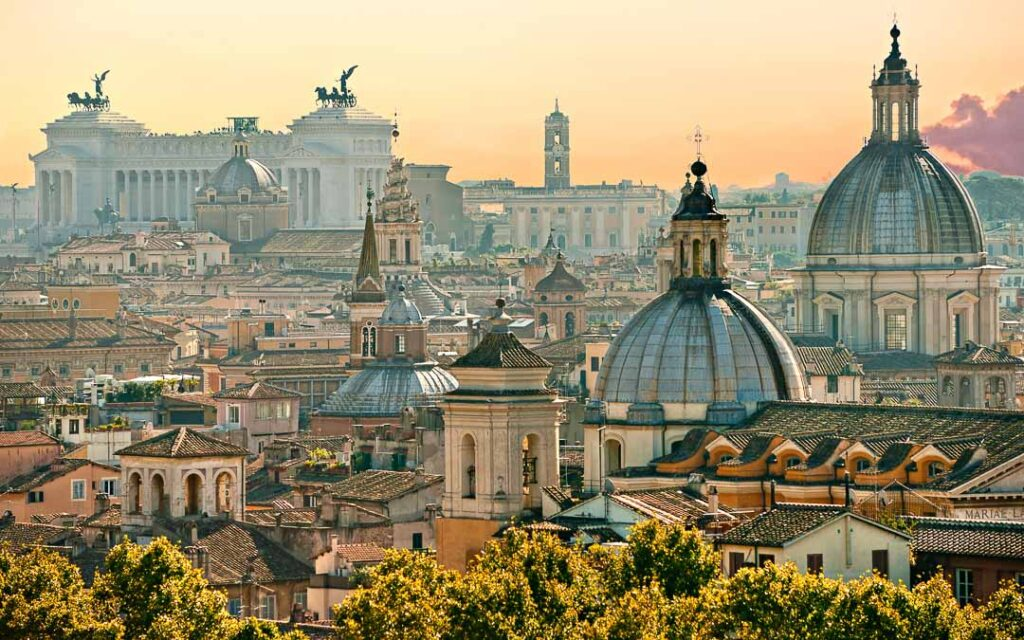 Vista do Castelo de Sant'Angelo em Roma